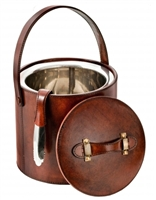 brown leather ice bucket