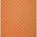 Dhurry Wool Geometric Orange Rug