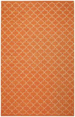 Dhurry Wool Geometric Orange Rug