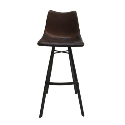 Brown Leather Bar Stool Front
