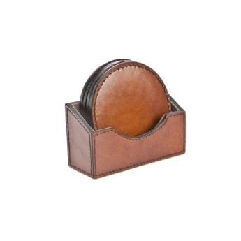 Winston Cognac Leather Coaster Set