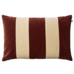Red and Beige Stripe Velvet Cushion