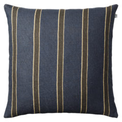 Striped Kamala Linen Cushion- Blue & Brown