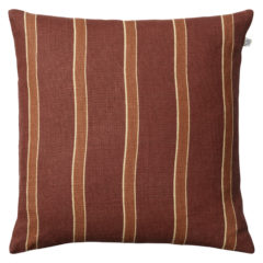 Kamala Dark Chilli Red, Apricot and Orange Striped Linen Cushion
